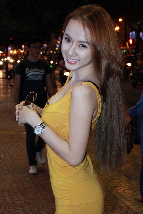 Angela Trinh Phuong Vietnamese Super Star Lady Sexy with Yellow Dress